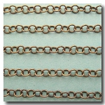 1-650 Antiqe Brass Small Contemporary Round Curb Chain 3.8mm