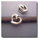 1-1129 Antique Silver Euro Licorice Hammered Heart