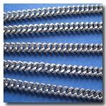 1-373 Stainless Steel Small Diamond Cut Boxcar Curb Chain 3mm
