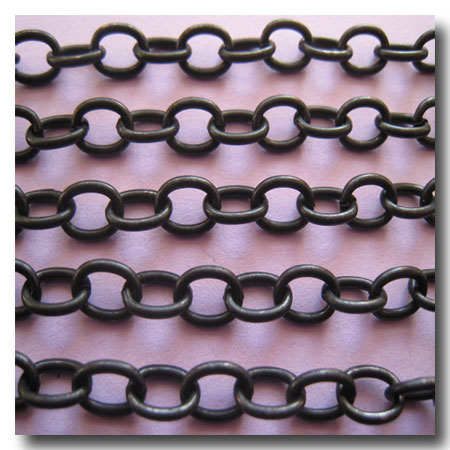 1 355 black classic elongated oval cable chain 6x41mm - Decorative Chain