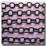 1-355  Black Classic Elongated Oval Cable Chain 6x4.1mm