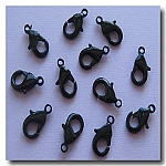 1-372 Shiny Black Lobster Clasp 15 X 9mm