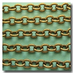 1-416 Antique Brass Classic Elongated Oval Cable Chain 6.5mm x 5mm