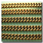1-419 Antique Brass Small Diamond Cut Boxcar Curb Chain 4mm
