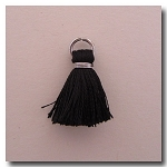 1-1736 Black Tassel w/Antique Silver Plate Jump Ring - 1/2