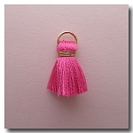 1-1748 Rose Pink Tassel w/Antique Gold Plate Jump Ring - 1/2