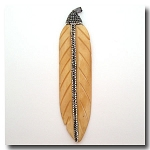 1-4701 Large Handcarved Rhinestone Crystal Encrusted Bone Feather --  4.25 inches