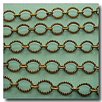 1-077 Antique Brass Crimped Oval Style Chain