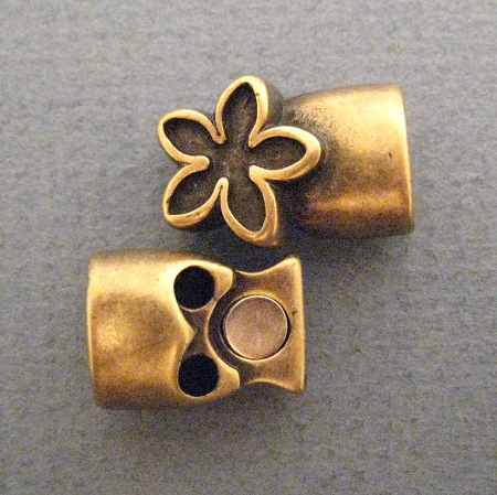 Antique Brass Euro Licorice Flower Magnet Clasp For 10 X