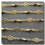 Gold Plate Filigree Vintage Style Chain