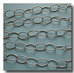 Brushed Silver Plate Large Stylish Oval Chain