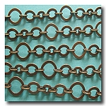 Antique Brass Three Ring Design Chain