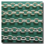 Silver Plate Classic Elongated Oval Cable Chain 6x4.1mm