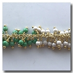 Green and White Beaded Dangle Chain