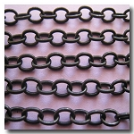 Black Classic Elongated Oval Cable Chain 6x4.1mm