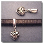 Antique Silver Euro Licorice Charm Holder with Filigree Heart