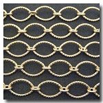 Matte Gold Plate Large Crimped Oval Style Chain 15.5 x 10mm