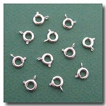 Silver Plate Spring Ring Clasp 6 pieces - 7mm