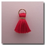 Silk Tassel | Half Inch | Real Red | Antique Gold Jump Ring