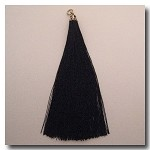 1-1725 Black Tassel w/Antique Gold Tassel Cap - 3.5