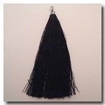 1-1726 Black Tassel w/Antique Silver Tassel Cap - 3.5