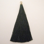 1-1733 Dark Green Tassel w/Antique Gold Tassel Cap - 3.5