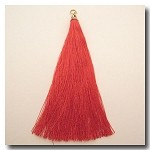 1-1734 Real Red Tassel w/Antique Gold Tassel Cap - 3.5