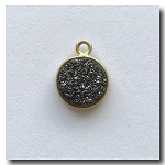 1-4723 Druzy-Charcoal/Black Round Pendant-24kt gold electroplate - 10mm