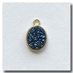 1-4725 Druzy-Peacock Blue/Green Oval Pendant 11x8mm