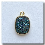 1-4727 Druzy-Peacock Blue/Green Oblong Pendant 13x11mm