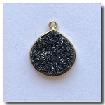 1-4743  Druzy-Charcoal/Black Pear Shape Pendant-24kt gold electroplate - 16.5x15mm
