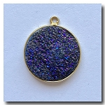 1-4744 Druzy-Peacock Purple Round Pendant-24kt gold electroplate - 19mm