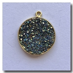 1-4747 Druzy-Peacock Brown/Gold Round Pendant 19.5mm