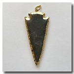 Burnt Brown Jasper Arrowhead Medium Large-24kt gold electroplate edge - 60mm