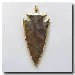 Cinnamon Jasper Arrowhead Medium Large-24kt gold electroplate edge - 60mm