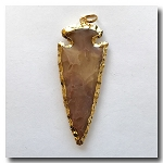 Caramel Brown Jasper Arrowhead Medium Large-24kt gold electroplate edge - 60mm