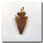 Desert Red Jasper Arrowhead Medium-24kt gold electroplate edge - 50m