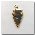 Burnt Brown Jasper Arrowhead Medium-24kt gold electroplate edge - 50mm