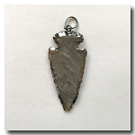 Taupe Jasper Arrowhead Medium-Rhodium Electroplate Edge - 50mm