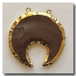 Crescent Cut Pendant Desert Red  Jasper-24kt gold electroplate edge - 50mm