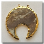 Crescent Cut Pendant  Mottled Brown Jasper-24kt gold electroplate edge - 50mm