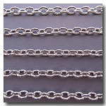 Rhodium Plate Classic Elongated Oval Cable Chain 6.5mm x 5mm
