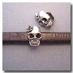 Antique Silver Euro Licorice Skull with Flower