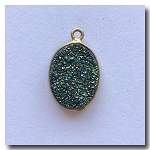 Druzy Pendant | Peacock Green Oval | 17.5x13mm