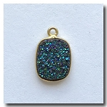 Druzy Pendant | Peacock Blue Green Oblong | 13x11mm