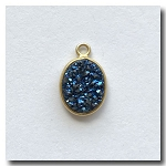 Druzy Pendant | Peacock Blue Green Oval | 11x8mm