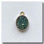 Druzy Pendant | Peacock Green Oval | 12.5x10mm