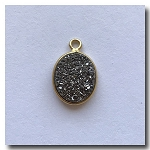 Druzy Pendant | Silver Gray Oval | 12.5x10.5mm