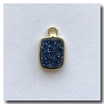 Druzy Pendant | Peacock Blue Rectangle | 10.5x7.5mm