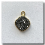 Druzy Pendant | Charcoal Black Square Rhombus | 10.5mm